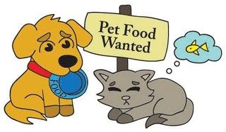 Cartoon picture showing pets with sign asking for food