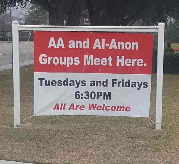 AA meets here sign at church