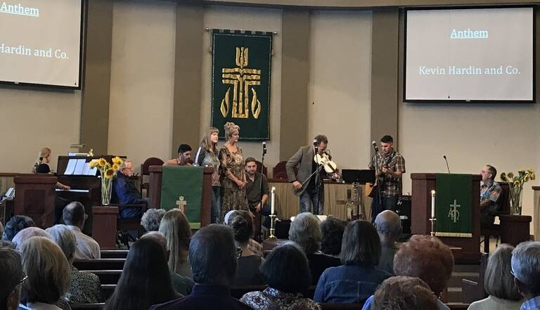 Bluegrass band performing for a Sunday service