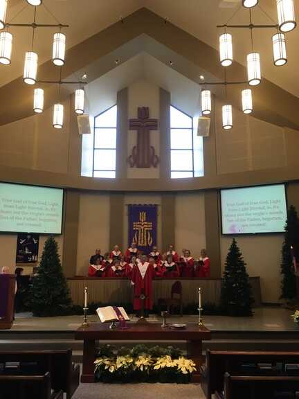 Choir in red robes for Christmas