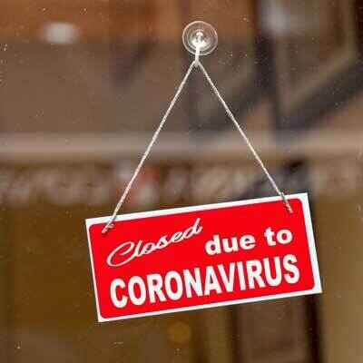 Sign depicting Closed Due to Covid-19