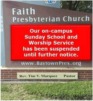 Notice that church services are suspended due to COVID-19